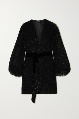 retrofete Gabrielle Velvet-trimmed Sequined Chiffon Mini Wrap Dress - Black