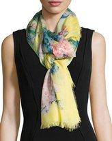 Gucci Hydrangea Cashmere & Silk Scarf, Yellow/Pink
