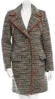 Prada Leather-Trimmed Wool-Coat w/ Tags