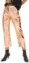 Topshop Women's Dree Metallic Flare Jeans