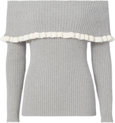 Exclusive for Intermix Raylynn Ruffle Off Shoulder Sweater Grey-Lt P