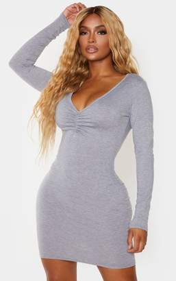 PrettyLittleThing Shape Grey Jersey Ruched Front Long Sleeve Bodycon Dress