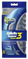 Gillette Sensor3 Simple Men's Disposable Razors, 8 Count, Mens Razors / Blades