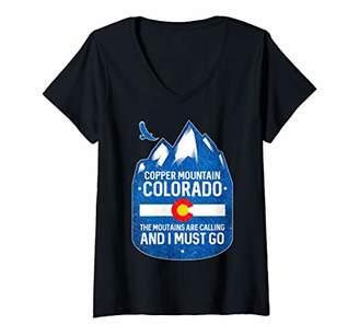 Womens Copper Mountain Colorado Mountains Are Calling V-Neck T-Shirt