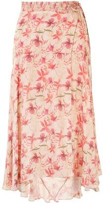 Alexis Leaf Print Midi Skirt