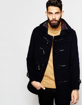 Gloverall Duffle Coat With Check Hood - Navy