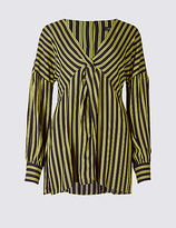 Limited Edition Striped Knot Front V-Neck Blouse
