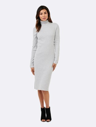 Forever New Josie Roll Neck Dress - Iced Grey - 8