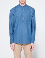 Gitman Brothers Band Collar Popover in Denim