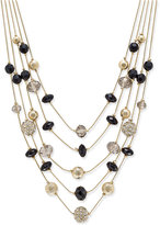 INC International Concepts Gold-Tone Bead and Crystal Layered Necklace, Only at Macy's