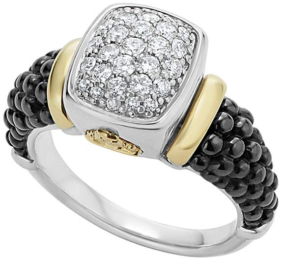 Lagos Black Caviar Ceramic 18K Gold and Sterling Silver Ring with Diamonds