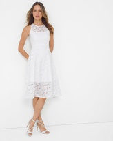 White House Black Market Geo Lace Fit-and-Flare Dress