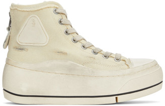 R 13 Off-White Distressed High-Top Sneakers