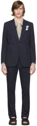 Dries Van Noten Navy Cotton Suit