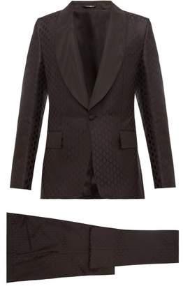 Dolce & Gabbana Single Breasted Silk Jacquard Three Piece Suit - Mens - Black
