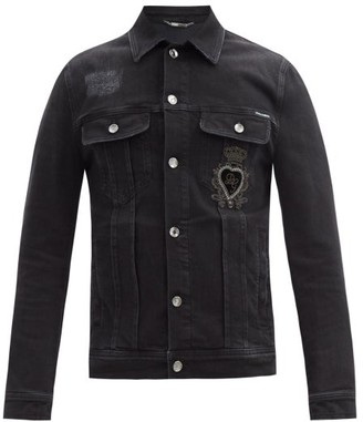 Dolce & Gabbana applique Denim Jacket - Black