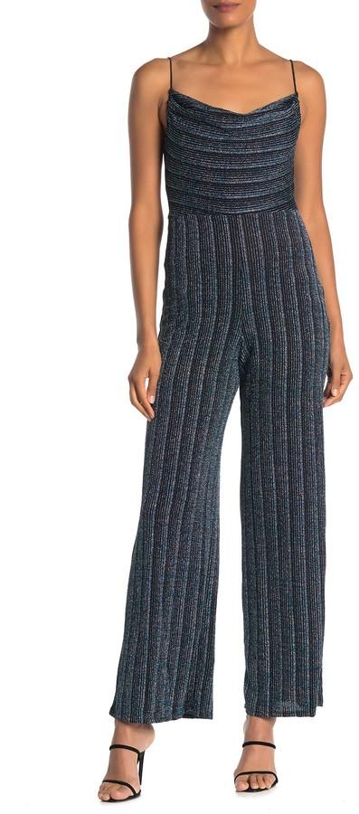 eci Womens One Shoulder Metallic Bodice Knit Jumpsuit