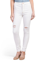 Juniors Super High Rise Skinny Knee Slit Jeans