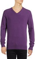 Black Brown 1826 Cotton-Blend V-Neck Sweater