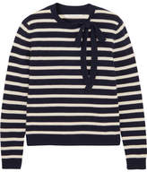 Chinti and Parker Striped Wool And Cashmere-blend Sweater - Navy