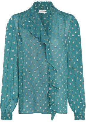 Fabienne Chapot - Dusty Blue Garden Blouse Top - UK 8 | dusty blue - Dusty blue