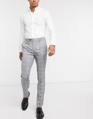 Avail London skinny fit suit pants in gray prince of wales check with blue stripe