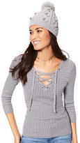 New York & Co. Lurex Lace-Up Ribbed Sweater
