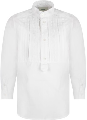 Fendi White Shirt For Boy With Iconic Ff