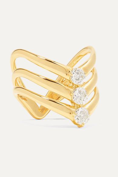 Melissa Kaye Aria Triple V 18-karat Gold Diamond Ring