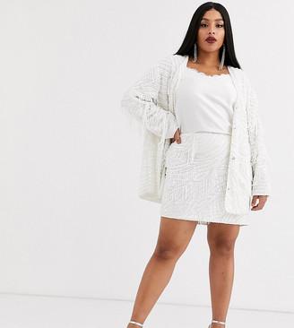 Asos Edition EDITION Curve beaded fringe oversized jacket-White