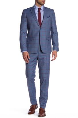 Soul Of London Blue Glenplaid Two Button Peak Lapel Suit