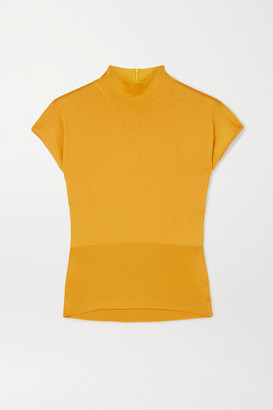 Dolce & Gabbana Paneled Silk Top - Mustard