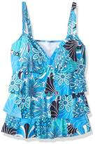 Penbrooke Women's Plus Size Shell Go Triple Tier Tankini