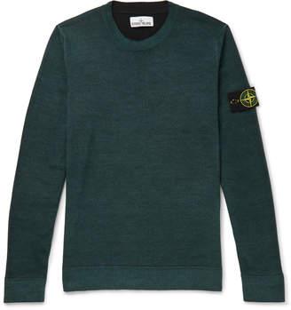 Stone Island Logo-Appliqued Melange Wool Sweater