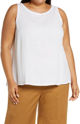 Eileen Fisher Bateau Neck Organic Cotton Swing Shell