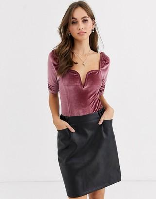 Asos Design DESIGN velvet plunge bodysuit in pink