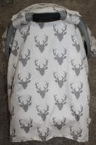 Etsy Baby Carseat Tent -White with Gray Buck Carseat Canopy, Tent, Deer, Antler
