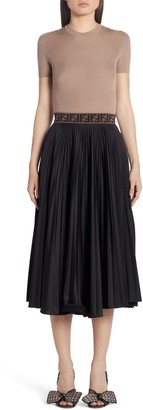 Fendi FF Band Pleated A-Line Midi Skirt