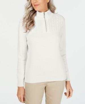 Karen Scott Petite Cotton Mock-Neck Pullover, Created for Macy's