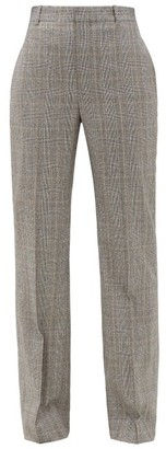 Balenciaga Straight-leg Checked Wool Tailored Trousers - Womens - Grey