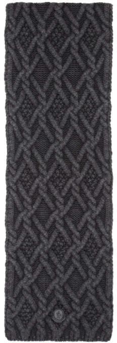 Moncler Black Cable Knit Scarf