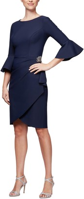 Alex Evenings Women's Slimming Short Dress with Bell Sleeves (Petite and Regular)