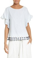 Tanya Taylor Women's Maureen Tassel Hem Stripe Cotton Top