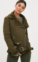 PrettyLittleThing Tan Ring Pull Suede Aviator Coat