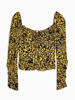 Topshop Shirred Side Prairie Top - Yellow