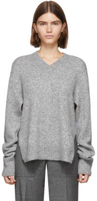 Helmut Lang Grey Wool and Alpaca Brushed V-Neck Tie Sleeve Sweater