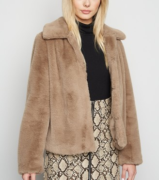 New Look Faux Fur Collared Coat