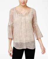 Style&Co. Style & Co. Printed Peasant Blouse, Only at Macy's