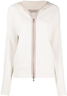 D-Exterior Knitted Zip-Up Cardigan