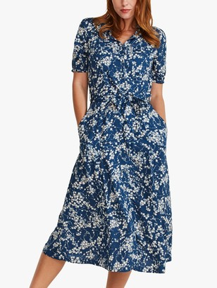 Fat Face FatFace Riley Windswept Floral Midi Dress, Indigo